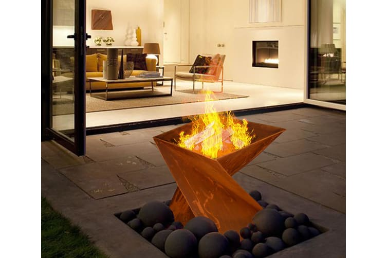 Rustic Helix Style Fire Pit