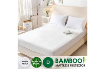 Bamboo Terry Pile Fully Fitted Waterproof Mattress Protector -Double