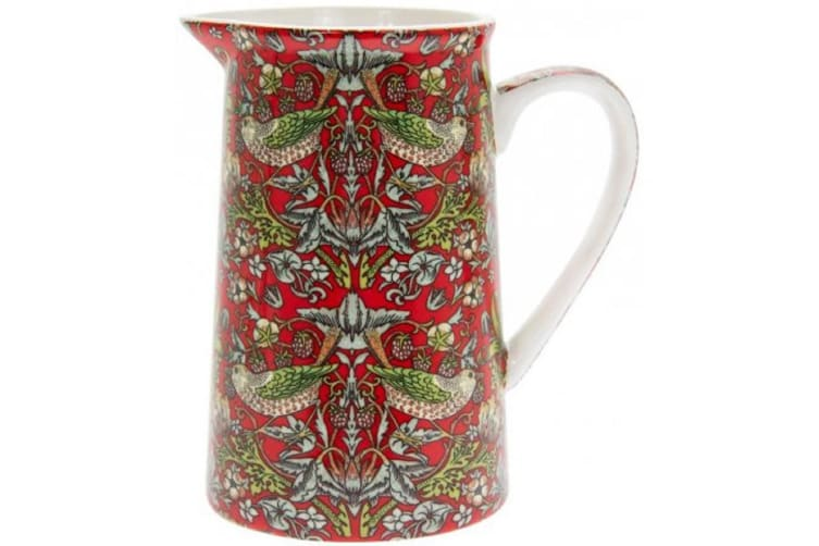 Strawberry Thief Jug (Red) (14 x 9 x 12cm)