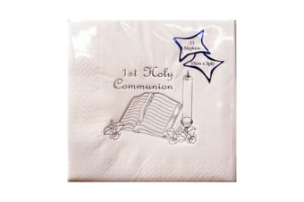 NPK First Holy Communion Design Foil Printed Napkins (Pack Of 15) (White/Silver)
