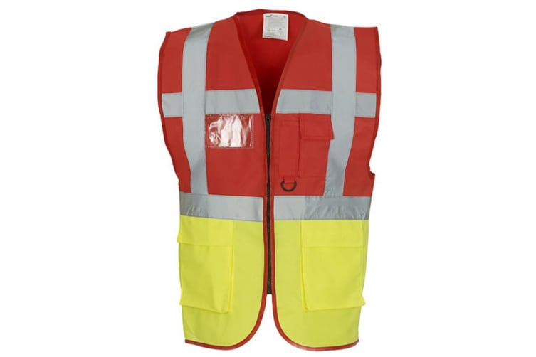 Yoko Hi-Vis Premium Executive/Manager Waistcoat / Jacket (Hi Vis Orange/Hi Vis Yell) (XL)