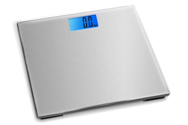 Electronic Digital Backlit Glass Body Bathroom Scale 180KG scales Gym Weight silver