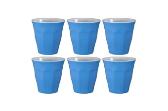 6x Serroni 260ml Cafe Melamine Plastic Reusable Cup Coffee Tumbler Cornflower BL