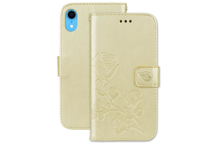 For iPhone XR Case Gold Rose-Embossed Folio Protective Leather Cover