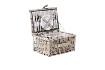 Kitchen Warehouse Grey Wash Picnic Basket 4 Person Driftwood