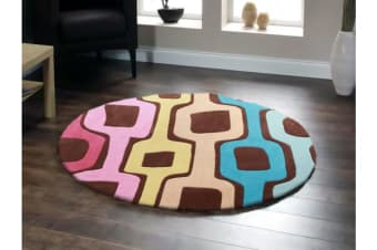 Funk Retro  Multi Coloured Round Rug 200x200cm