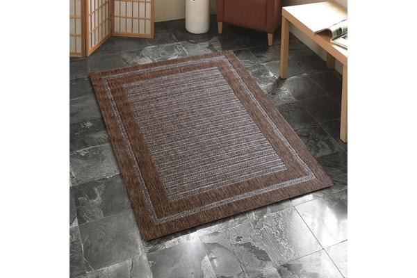 Indoor Outdoor Border Pattern Rug Brown 220x150cm