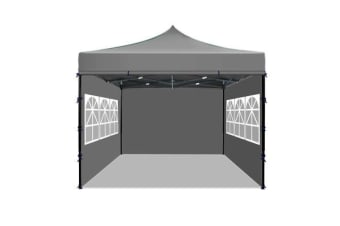 3x3m Party Pop Up Gazebo Marquee Canopy Folding Tent GREY