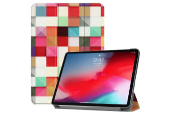 For iPad Pro 11 Inch 2018 Case PU Leather Folio Cover Magic Cube Pattern