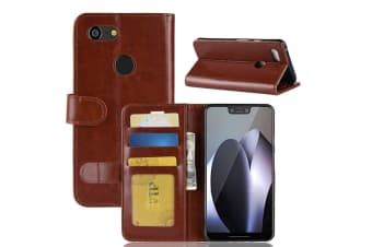 For Google Pixel 3XL Leather Wallet Case Brown WildHorse Texture Cover Card Slot