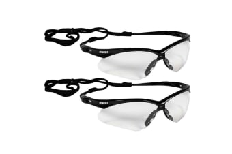 2PK Jackson Safety Glasses V30 Nemesis Lens Clear/Black UVA/UVB Eye Protection