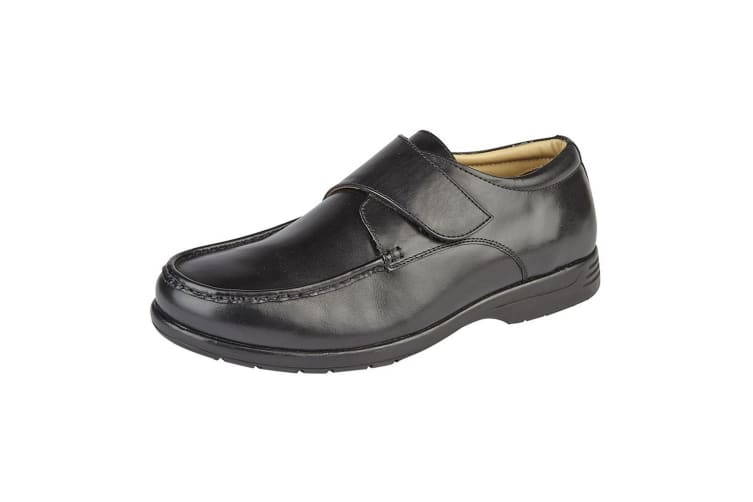 Roamers Mens Leather XXX Extra Wide Touch Fastening Casual Shoe (Black) (9 UK)