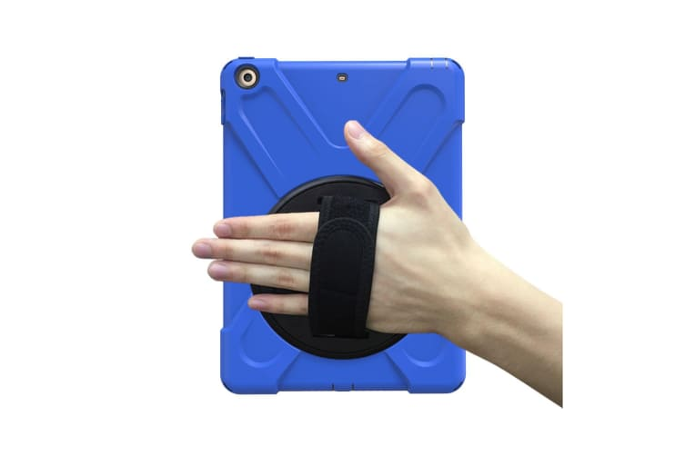 For iPad 2018 2017 9.7-inch Dark Blue Shoulder Hand-strap Armour Case