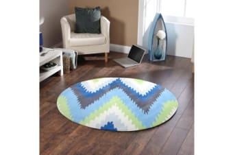 Ikat Chevron Blue Green Rug 200x200cm