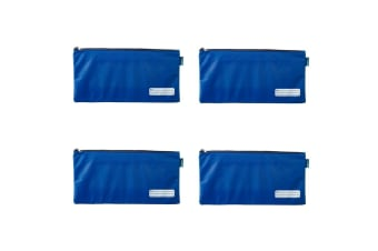 4x Celco 37cm School/Work Large Storage Zipper Pouch Pencil/Stationery Case Blue