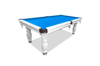 8FT Luxury Slate Pool Table Solid Timber Billiard Table Professional Snooker Game Table with Accessories Pack, White Frame / Blue Felt