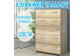 5 Drawers Tallboy Oak Look Chest Table Cabinet Bedroom Storage RRP $349.00