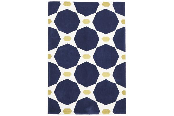 Navy and Yellow Hive Rug 225x155cm