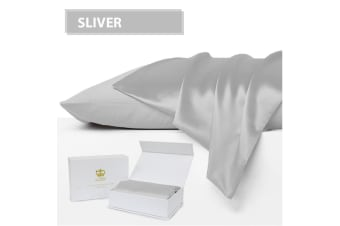Luxor Crown Set of 2 Mulberry Silk Pillowcases SILVER