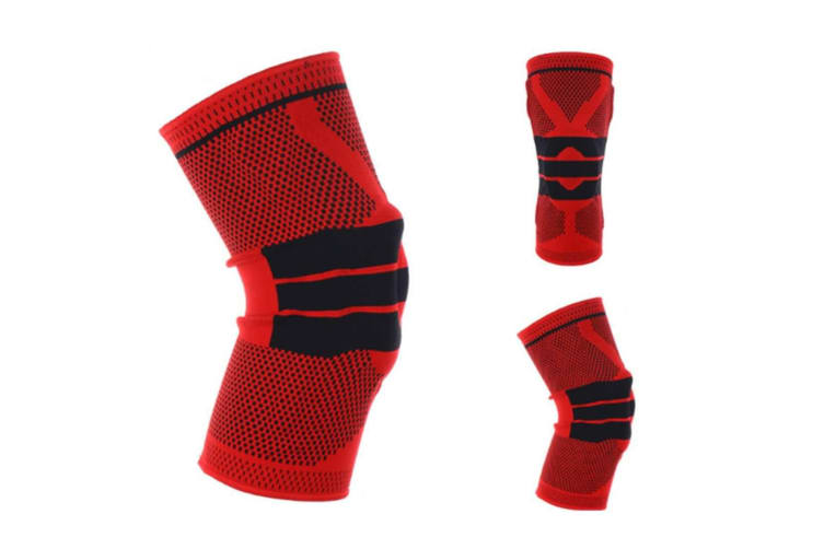 Knee Pads,Knitted Breathable Silicone Pad Knee Brace Compression SleeveRed M