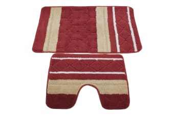 2 Piece Striped Bath Mat/Rug & Pedestal Mat Set (Red/Beige) (One Size)