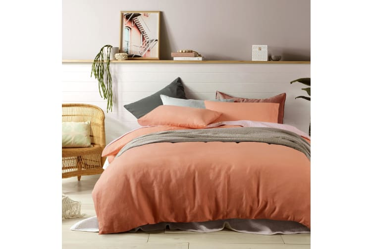 100% Linen Burnt Melon Quilt Cover Set Double
