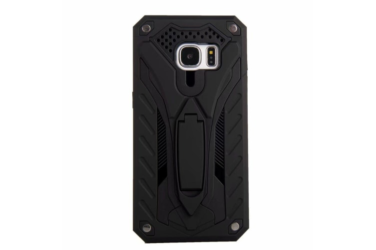 For Samsung Galaxy S7 Case  Armour Strong Shockproof Tough Cover Kickstand Black