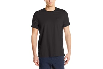 Tommy Hilfiger Men's Crew Neck Flag Tee (Black, Size L)