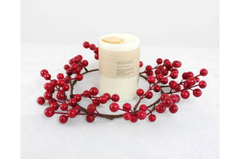 "25cm 10"" Christmas Red Berry Wreath Xmas Wall Door Table Candle Holder Decor"