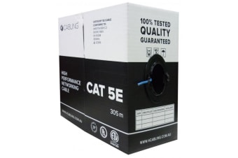 Cat 5E Lan Ethernet Cable With Solid Conductors 305M Pull Box Blue