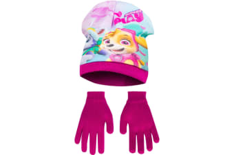 Paw Patrol Childrens Girls Pups At Play Winter Hat And Gloves Set (Pink)