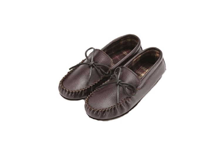 Eastern Counties Leather Unisex Fabric Lined Moccasins (Dark Brown) (5 UK)