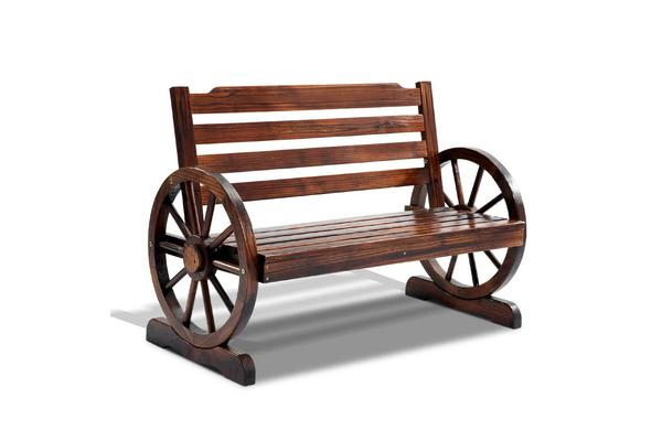Wooden Wagon Wheel Bench (Brown)