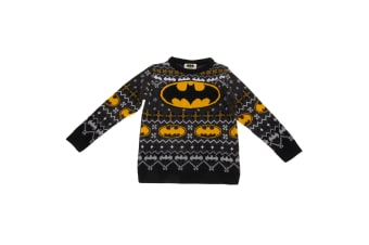 Batman Childrens/Kids Unisex Official Bat Logo Patterned Christmas Jumper (Grey)