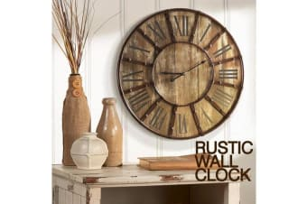Large Vintage Rustic Metal Frame Wood Backdrop Wall Clock