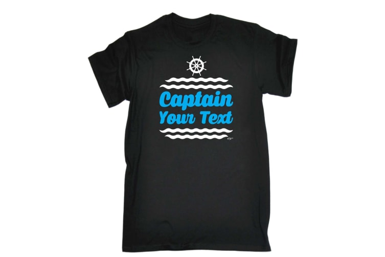 Personalised 123T Funny Tee - Captain Your Text - (Large Black Mens T Shirt)