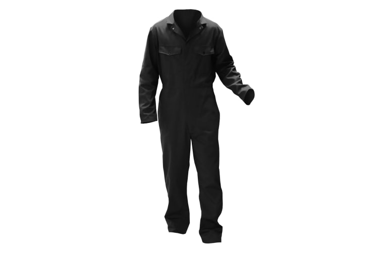 Warrior Mens Stud Front Coverall (Black) (XXL/R)