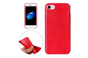 For iPhone 8 7 Case Elegant Smooth Crocodile Texture Durable Leather Cover Red