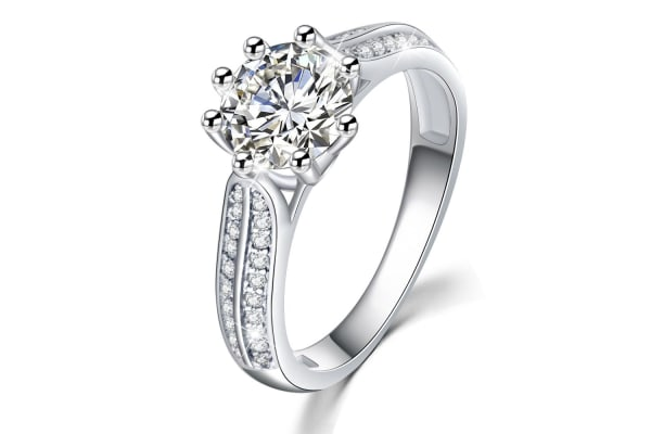 .925 My Only Sunshine Solitaire Ring-Silver/Clear   Size US 7