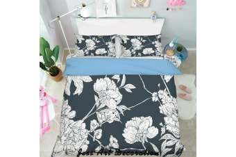 3D White Flowers Black Background Quilt Cover Set Bedding Set Pillowcases  126-King