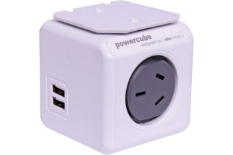 Allocacoc PowerCube Extended 4 Way Mains & USB Adapter