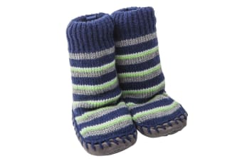 Playette Slipper Socks/Shoes/Boots 18-24M Navy Stripes Boys/Baby/Toddler/Kids