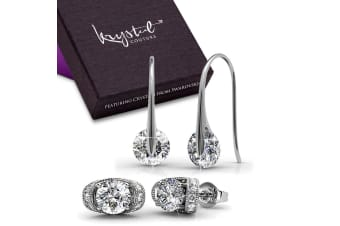 Set Of 2 Earrings I w/Swarovski Crystals-White Gold/Clear