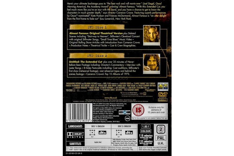 Almost Famous - Kate Hudson - Region 2 Rare- Aus Stock DVD PREOWNED: DISC LIKE NEW