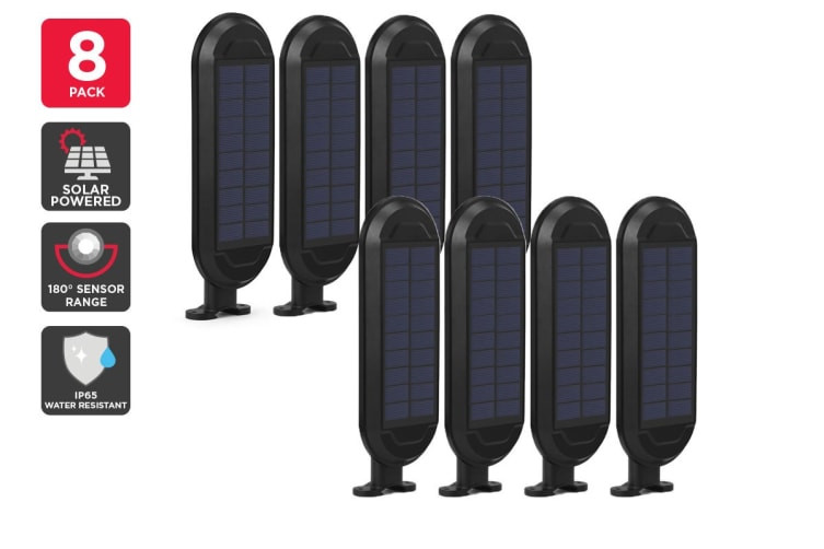 8 Pack Solar Wall Mounted Motion Sensor Light (Black, Zara)