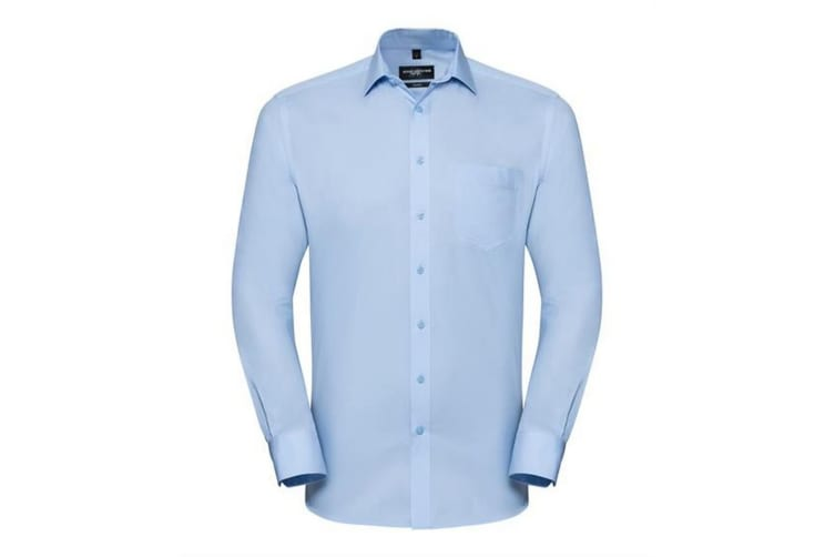 Russell Collection Mens Long Sleeve Tailored Coolmax Shirt (Light Blue) (XXL)