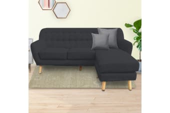 Linen Corner Sofa Couch Lounge L-shaped with Left Chaise - Dark Grey