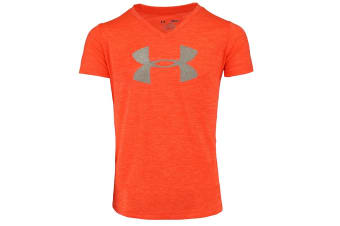 Under Armour Girls' Tech Big Logo V-Neck (Orange Heather/Silver)