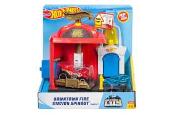Hot Wheels City Cars - Downtown Fire Station Spinout Playset