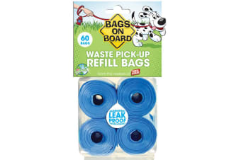 Bags On Board Dog Waste Refill Plastic Bags (Blue) (4 x 15)